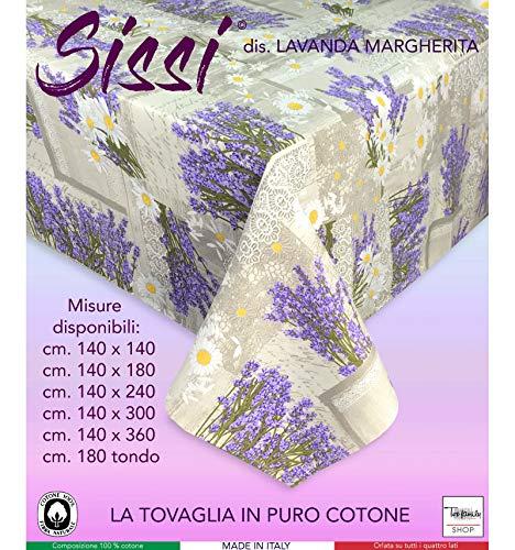 tex family Nappe Sissi Lavande Marguerite - cm. 140 x 360 x24 Personnes
