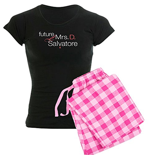 CafePress Frau Damon Salvatore Damen Dark Schlafanzüge – Damen Neuheit Baumwolle Pyjama Set, bequemen PJ Nachtwäsche Gr. Small, With Pink Pant (Lustig Pj Bottoms)