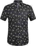 SSLR Camisas Hombre Manga Corta Estampado de Tiburón para Verano (Medium, Negro)
