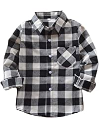 Camisa Niño - Camiseta Cuadros Blusas Manga Larga Tops Niños Tshirts Niñas Shirts Colegio Unisexo Outerwear Tartán Abrigo Primavera Otoño Casual Yuxin