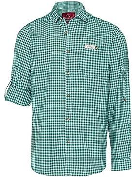 Edelheiss Moser Trachten Trachtenhemd Langarm Dunkelgrün Karo Robby 005117, Material Baumwolle, Liegekragen