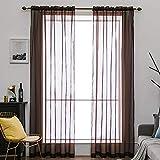 MIULEE 2er Set Voile Vorhang Transparente Gardine aus Voile Polyester Schlaufenschal Transparent Wohnzimmer Luftig Dekoschal für Schlafzimmer Kaffee 55