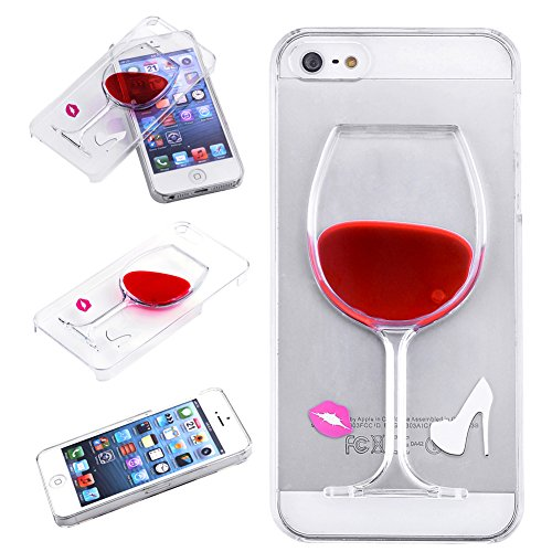 CarrieBB Transparent Clear Hard Protection Case for iPhone 5 / 5s Screen Creative Design Red Wine Cup with Flowing Liquid, Clear and Red