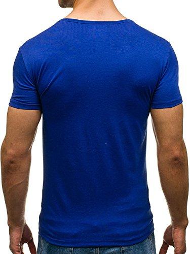 BOLF T-Shirt Herren Unifarben Classic Kurzarm Party Slim V-Neck J. STYLE 2007 Kobaltblau