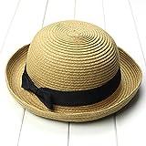 TinkSky Fashion Damen Mädchen Bowknot Roll-Up Wide Brim Dome Stroh Sommer Sonne Hut Bowler Strand Cap