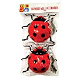 Invero® 2x Pack of Giant Garden Ladybird Wall Fence Tree Decoration Mounted Hanging Décor