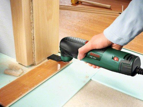 Bosch DIY Multifunktionswerkzeug PMF 190 E Set Anwendung Türrahmen kürzen