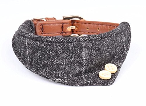 Maycong Hunde Geschirre Mode Einfaches Muster Dreieck Handtuch PU Hundehalsband (Grau)