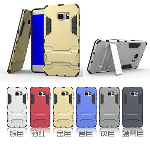 EKINHUI Case Cover s6 edge - plus, 2 in 1 neue rüstung harter stil hybrid dual layer 'verteidiger pc - hard - fall stehen [stoßfeste fall] für samsung galaxy s6 rand plus ( Color : Silver , Size : Sam Blue
