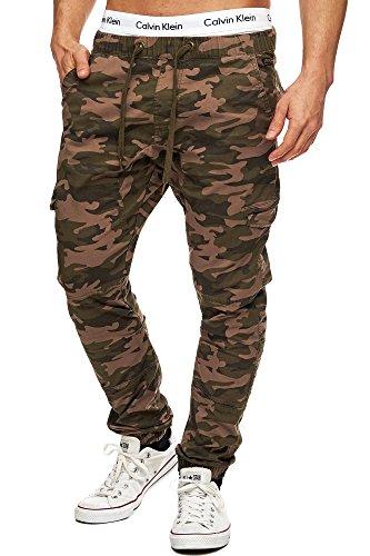 Indicode Herren Levi Cargo Cargo Hose Freizeithose Militär Army Chino Feldhose Outdoorhose Rangerhose Stoffhose Leinenhose Dired Camouflage XL