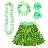 WIDMANN Set Hawaii Verde Gonna Hawaiianacon Cintura Fiori Collana Fiori Corona 845