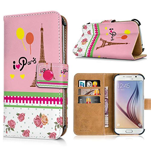 Apple iPhone 6s Handytasche mit Standfunktion, Magnetverschluss & Kreditkartenfächern. Schutzhülle Tasche Case Brieftasche Handyhülle / bunter Igel(334) Paris(rosa)