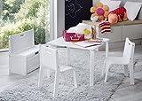 IMPAG ® Kindersitzgruppe Buche Natur | Buche Weiß 1 Tisch 2 Stühle 1 Truhenbank mit Deckelbremse (Weiß)