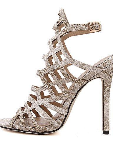 LFNLYX Chaussures Femme-Habillé / Soirée & Evénement-Noir / Amande-Talon Aiguille-Talons / A Plateau / Bout Ouvert-Sandales-Similicuir almond