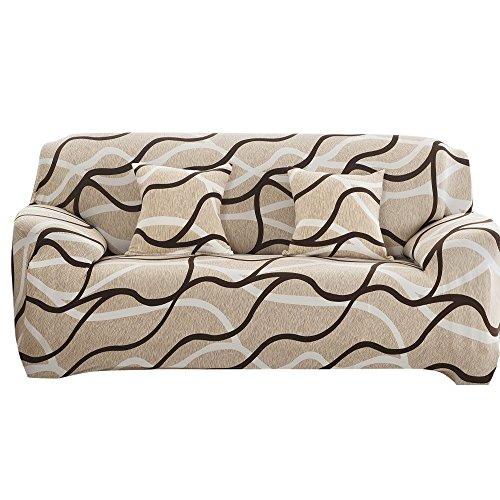 Souarts Sofabezug elastische Stretch SofaBezug mit 4 verschienden Größe Bezug Couchsessel Stretch Husse/Sofa Bezug/Sofabezüge /Sofa Husse (3 Sitzer 195-230cm, Khaki)