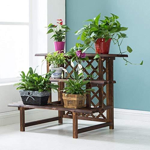 IU Desert Rose Étagère de balcon Échelle à trois niveaux, bac à fleurs en bois de carbonisation anti-corro ion olid, bac à plantes à l'intérieur et à l'extérieur (ize: 90 * 60 * 68cm)