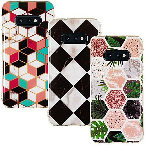 CLM-Tech Hülle 3X kompatibel mit Samsung Galaxy S10e, TPU Silikon-Hülle Case Schutzhülle Handyhülle 3er Set, Formen bunt Mehrfarbig