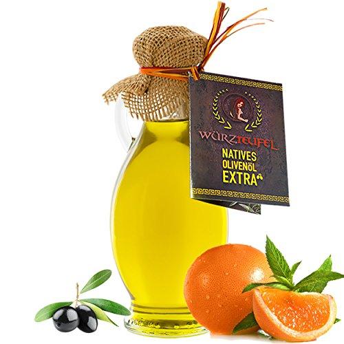Orangenöl, Orangen - Öl aus Nativem, Extra Vergin Olivenöl und ätherischem Orangenöl aus Florida, Ungefiltert. Kaltgepresst. Traditionelle Herstellung im Familienbetrieb, Griechenland. AMPHORE IR