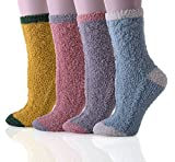 HapiLeap 4 Pairs Premium Soft Warm Microfiber Fuzzy Socks Winter Sleeping Cozy Home Socks - Christmas Gift (Style A)