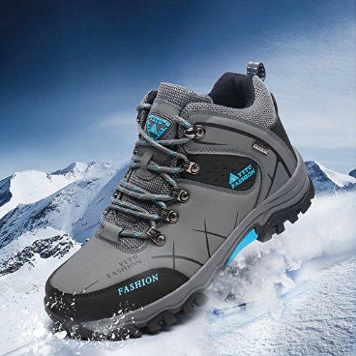 Laiwodun Herren Trekking Wanderschuhe Sports Outdoor Wasserdicht Gleitsicher Stiefel mit perfekter Dämpfung Dicker Grau-2