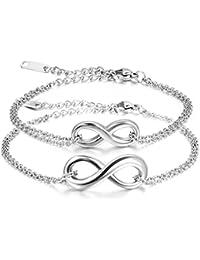 Jewelrywe Joyería Pulsera Hombres Mujeres 2pcs, Infinity Infinity Acero Inoxidable, Plata Pequeño (con bolsa de regalo)