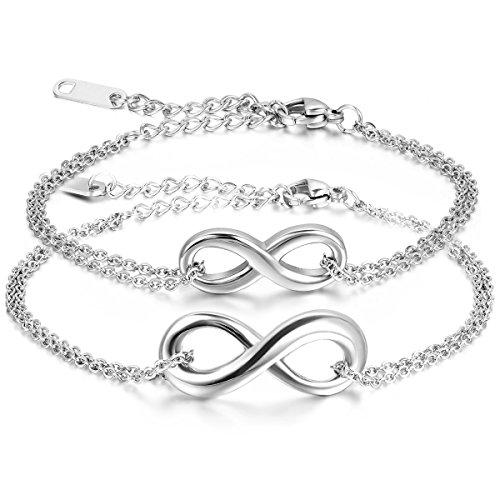 JewelryWe Schmuck 2pcs Damen Armband Fußkette, Lieben Infinity Zeichen Charm Armreif Fußkettchen, Edelstahl, Silber - kostenlos Gravur