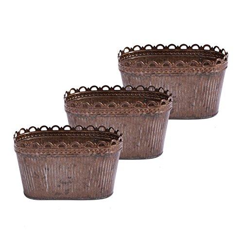 Lot de 3 Bol à Fleurs Antique Pot à Fleurs Pot de Fleurs Pot Ovale Pot Métal Zinc Bol Jardinière Rouille ou Finition au Plomb (20 cm)