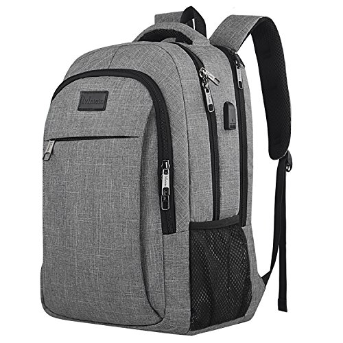 Travel Laptop Backpack, Professional Business Backpack with USB Charging Port, Durable Slim Lightweight Water Resistant School Rucksack for Women and Men, Fits 15.6 Inch Laptop and Notebook-Grey