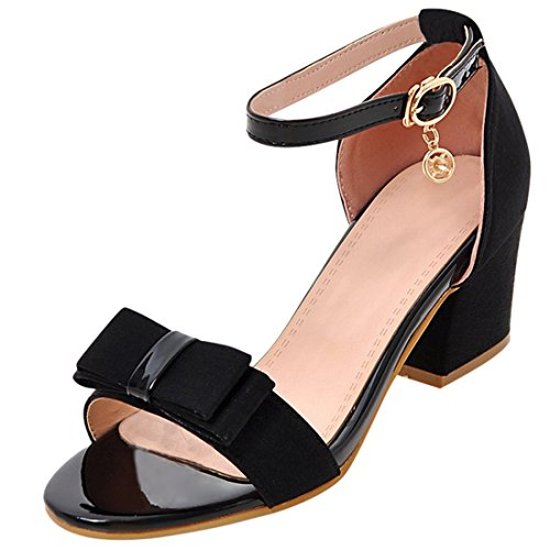 Artfaerie Damen Chunky High Heels Riemchen Sandalen Ankle Strap Pumps mit Schleife und Schnalle Open Toe Elegante - Pumps Open Toe Schwarz