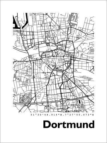 Unbekannt Alu Dibond 90 x 120 cm: Dortmund Stadtplan HF 44spaces von 44spaces