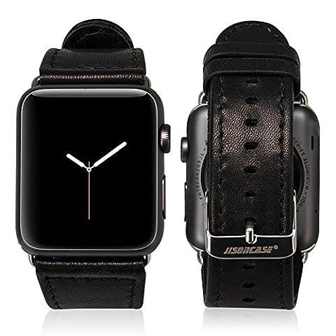 Apple Watch Bracelet 42mm, Jisoncase Bracelet de Montre en Cuir Chevreau Souple Band Strap Remplacement pour Tous Les Modèles de Apple Watch 42mm avec Fermoir en Métal JS-AW4-18L10-FR Noir