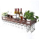 Wine Rack Bar Scaffale per Vino rovesciato, Scaffale per Bottiglie di Vino pensile Europeo Creativo, Decorazione a Parete per Vino (Colore : Bronzo, Dimensioni : 60cm)