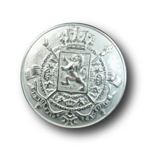 Knopfparadies - 6er Set reichlich verzierte Wappen Metall Ösen Knöpfe mit Löwe, Krone, gekreuzten Zeptern und Inschrift