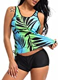 FITTOO Damen Push up Elegante Figurumspielender Raffinierter Top + Slip Tankini Blatt XL
