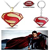 (2 Pcs COMBO SET) - SUPERMAN ( GOLD PLATED ) EXCLUSIVE PENDANT & SUPERMAN (SILVER PLATED) IMPORTED KEYCHAIN. LADY HAWK DESIGNER SERIES 2018. ❤ ALSO CHECK FOR LATEST ARRIVALS - NOW ON SALE IN AMAZON - RINGS - KEYCHAINS - NECKLACE - BRACELET &amp