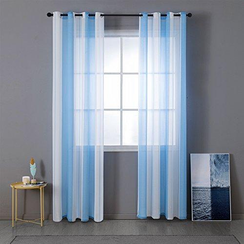 Miulee lino voile tenda finestra con occhielli tenda a pannello tende a vela trasparente per soggiorno e camera da letto 2 pezzo set bianco+azzurro 140 * 260cm