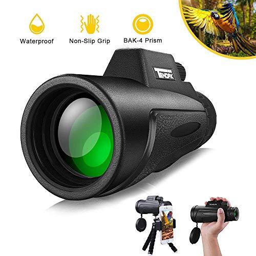 12x50 Monokular Teleskop, Tendak HD Monokulare Teleskope Binoculars Wasserdicht mit Smartphone Halterung & Stativ für Camping Wandern Reisen Sightseeing Tierbeobachtung