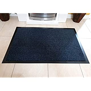 AQS INTERNATIONAL Heavy Duty Barrier Mats Non Slip Backing Indoor/Outdoor Machine Washable Grey, Brown Blue 40X60cm