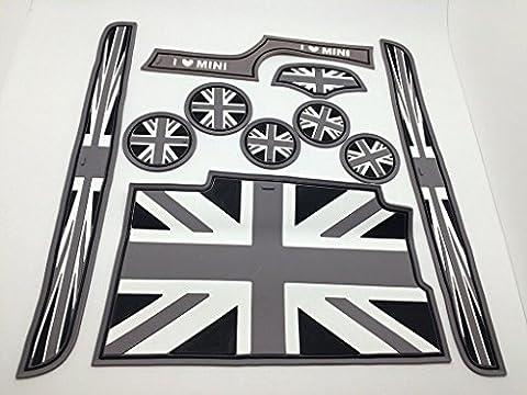 (9) Black Grey Union Jack Flag Coasters Cup Holder Side