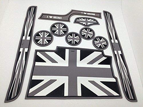 CarLab Tapis de porte latéraux Sous-verres noirs et gris Drapeau Britannique pour MINI Cooper F56 (9)