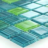 Mosaikfliesen Glasmosaik Strich Grün Mix