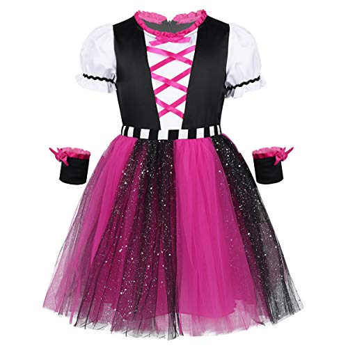 iixpin Baby Mädchen Piraten-Kostüm Piratin Kleider Mädchen Halloween Cosplay Fasching Karneval Verkleidung Trachtenkleid Kinderkostüm Gr.86-116 Rosa 110-116 (Kinder Rosa Piraten Kostüm)