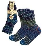 2 Paar Bunte Wohlfühlsocken Norwegersocken in 4 Farben - kuschelig warm für Damen&Herren dunaro® (35-38, Blautöne)