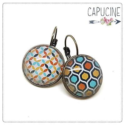 Boucles d'oreilles formes géométrique cabochon verre - Dormeuses bronze vintage - losanges, chevrons