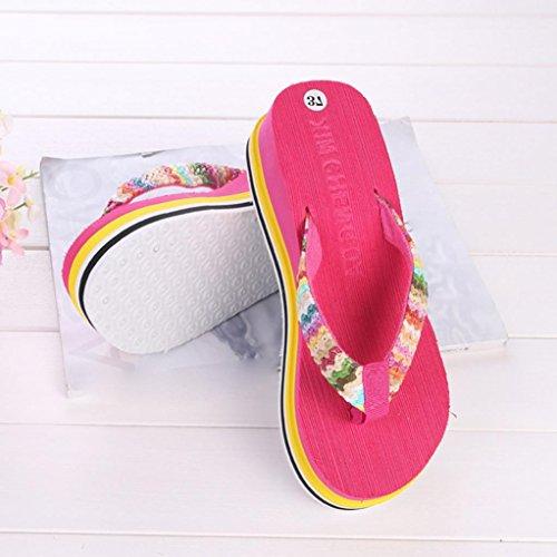 Tenían 5 De Playa 39 8cm De Plataforma Brillante Correa 36 Color Tejidos La Rosa Flip Sandalias Flop Mujer n6x0qBwSW4