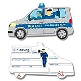 PARTY DISCOUNT Einladungskarten Polizei 6 Stk.