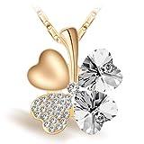Joyfulshine Damen Kette Anhänger Halskette,18k Vergoldet Vier Blatt Klee Herzform Weiß Kristall Anhaenger,Regalo für Frauen Mädchen Giovani