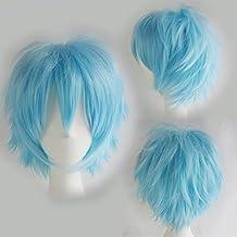 Peluca de Personajes de Anime o de Dibujos animados Corto Ondulado Azul claro Cosplay Disfraz Carnaval Halloween