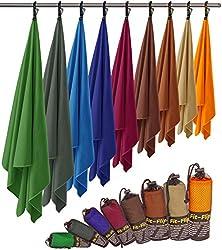 Fit-Flip Microfaser Handtuch - federleicht, Ultra saugstark und schnelltrocknend - (1x 140x70cm + 1x Tasche, Königsblau)