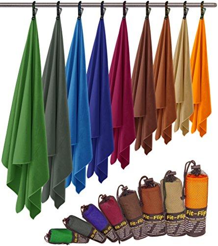 Fit-Flip Microfaser Handtuch – federleicht, Ultra saugstark und schnelltrocknend – (2X 80x40cm + 1x Tasche, Meerblau)